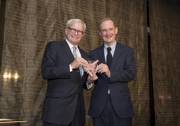 Tom Brokaw presents the Distinguished Advocate Award to honorree David Boies, April 23, 2014. Mandarin Oriental, NYC. Photography by Margarita Corporan
