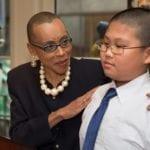 Andrea Davis Pinkney introduces Benson School student Jimmy Chen