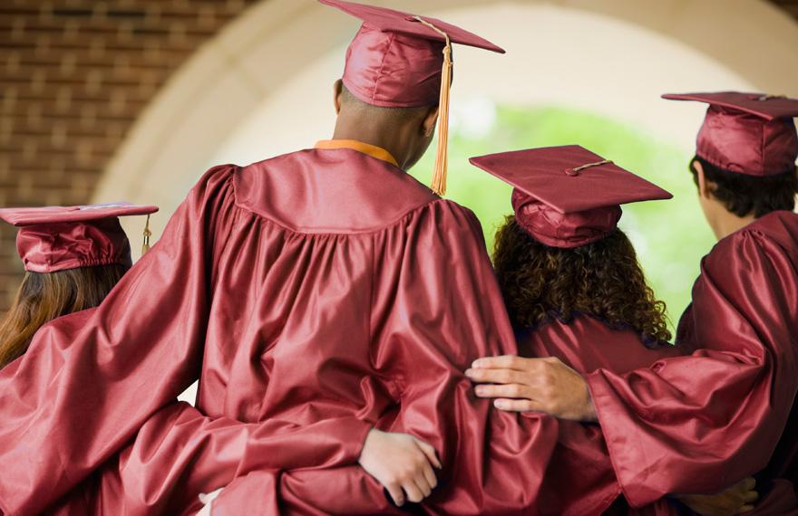 Graduates linked arms