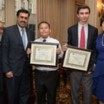 From left: Principal Javier Muniz and student Jimmy Chen (P.S. 200, The Benson Elementary School) and student Rafer Friedman and Head of School Dr. Marjorie Castro (Eagle Hill School).