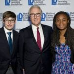 2016 Anne Ford Scholar Elijah Ditchendorf, James H. Wendorf and 2016 Allegra Ford Thomas Scholar Jocelyn Hanrath at NCLD's 39th Annual Benefit on March 9, 2016.